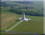 An aerial view of Vimy Ridge showing the Canadian Memorial